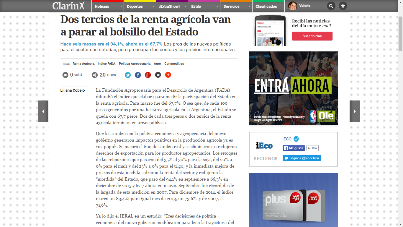Clarín – Indice FADA Marzo 2016